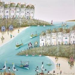 Boats and Floats by Rebecca Lardner -  sized 24x24 inches. Available from Whitewall Galleries